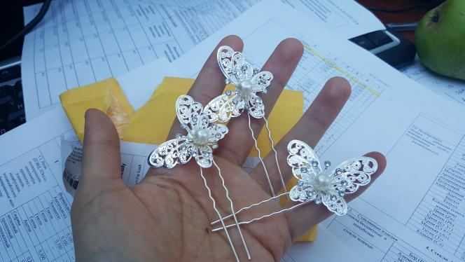 Piques cheveux papillon perle marque boho boheme chic access0405