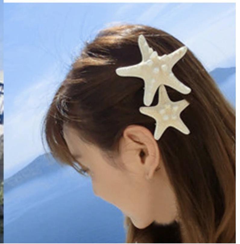 Barrettes étoiles de mer boho boheme chic HAIR0404