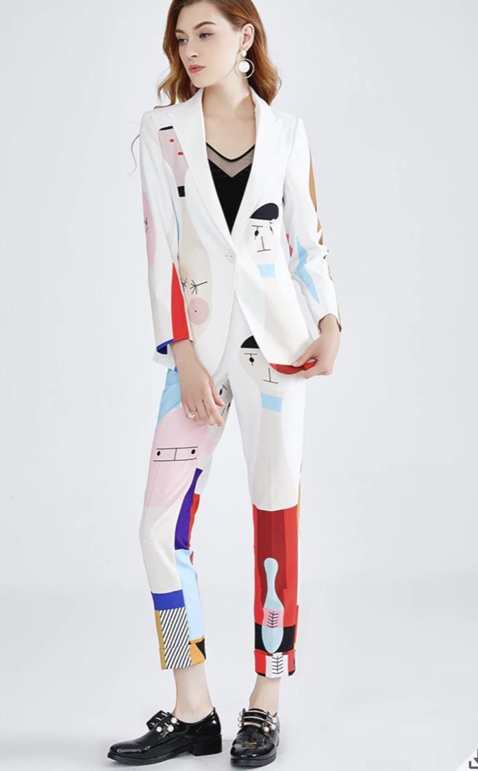 Tailleur femme pantalon imprimé boho boheme chic TAIL0002