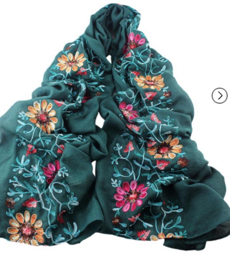 Echarpe foulard brodé boho boheme chic SCARF0193