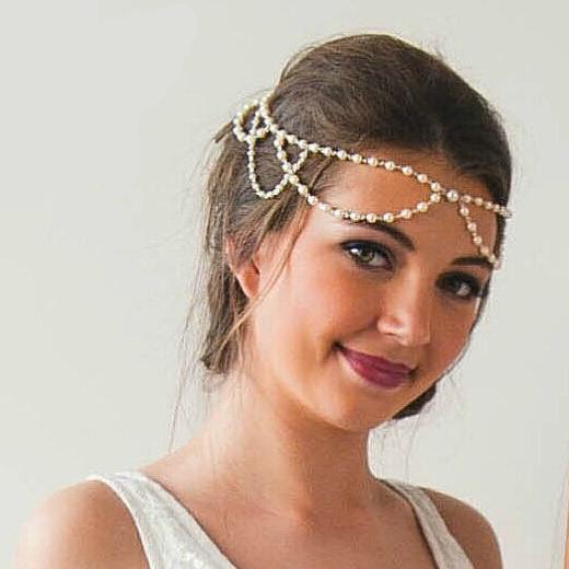 Bandeau cheveux perles mariage boho bohème chic ACCCHEV0383