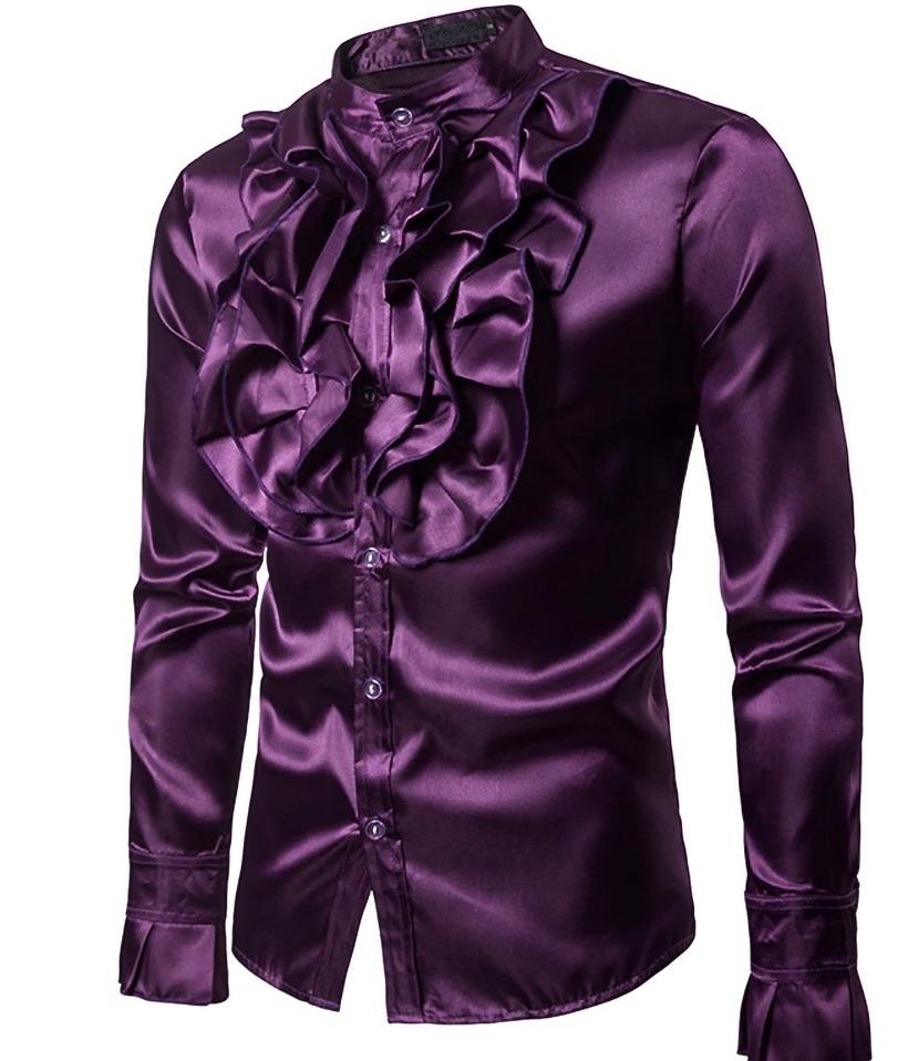 Chemise homme violette satin marque boho bohème chic hom0085