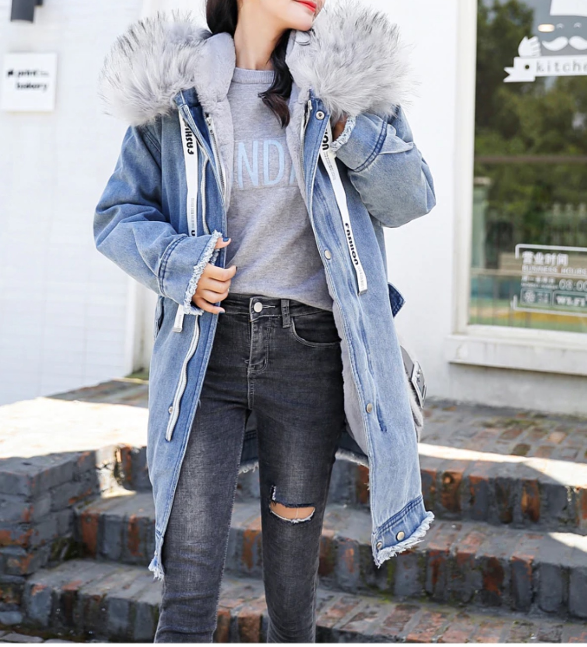 Manteau jean capuche boho boheme chic COAT0261