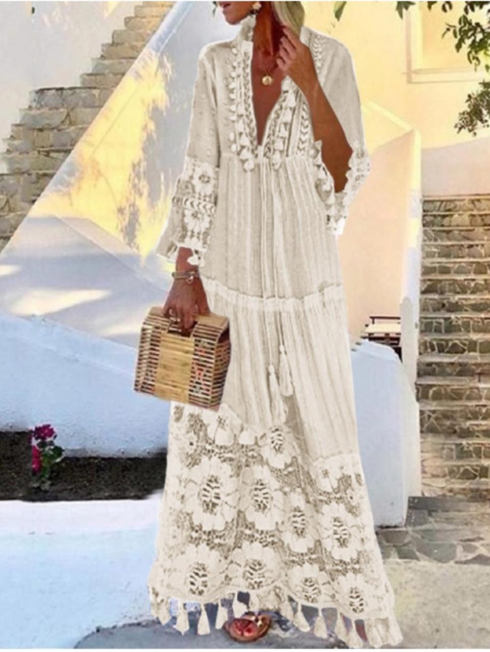 Robe longue beige dentelle boho boheme chic DRESSL1722