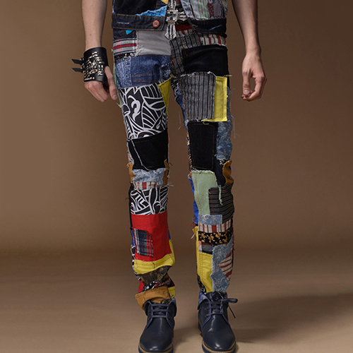 Pantalon jean patchwork boho boheme chic HOM0076