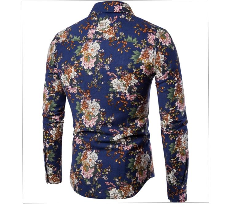 Chemise bleue fleurs boho boheme chic  HOM0067