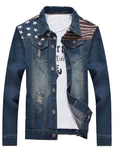 Veste jean homme drapeau américain boho boheme chic HOM0049