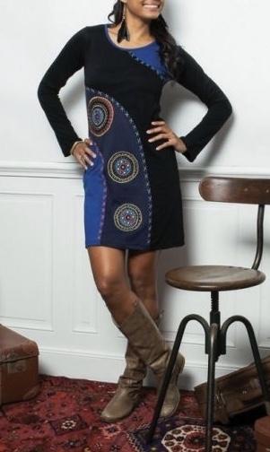 Robe brodée coton boho boheme chic dress1134