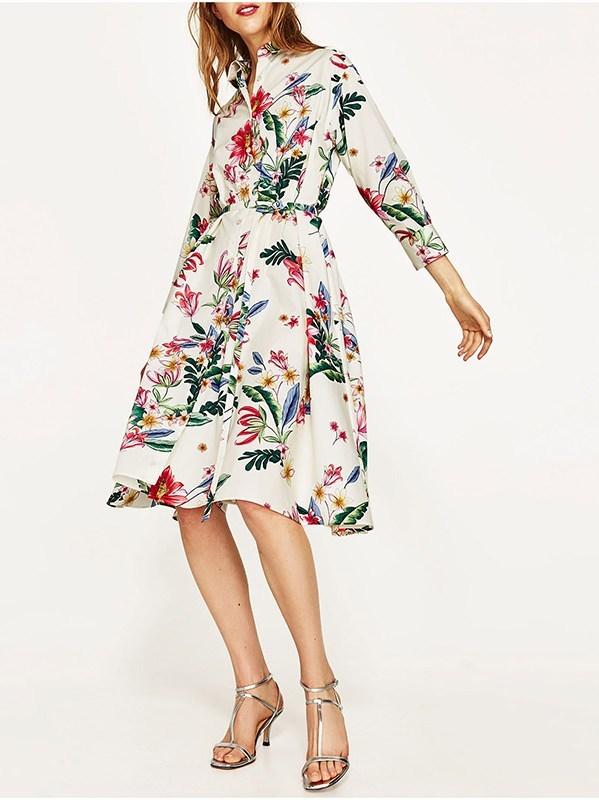 Robe ample fleurs boho boheme chic DRESSL1281