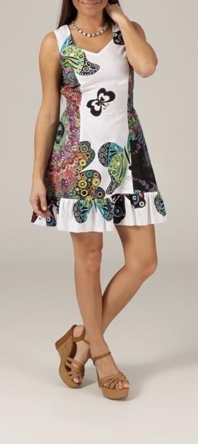 Robe coton courte imprimée papillons boho boheme chic dress1218