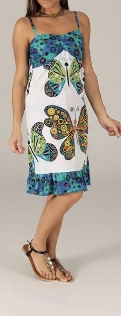 Robe coton imprimé papillons boho boheme chic dress1217