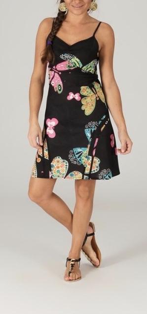 Robe coton imprimé papillons boho boheme chic dress1215