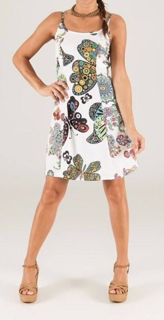 Robe coton imprimé papillons boho boheme chic dress1214