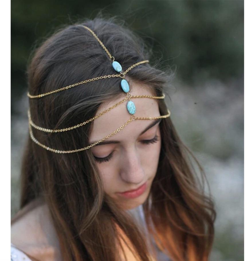 Bijoux cheveux chaines turquoises boho bohème chic ACCCHEV0352