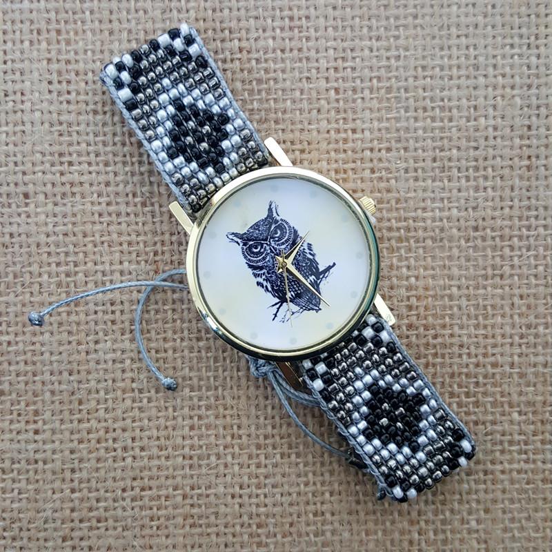 Montre bracelet brésilien perles chouette boho boheme chic WATCH0491