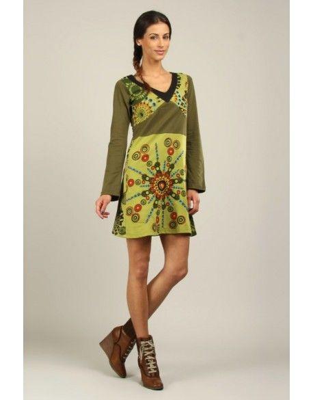 Robe brodée coton tons verts boho boheme chic dress1137