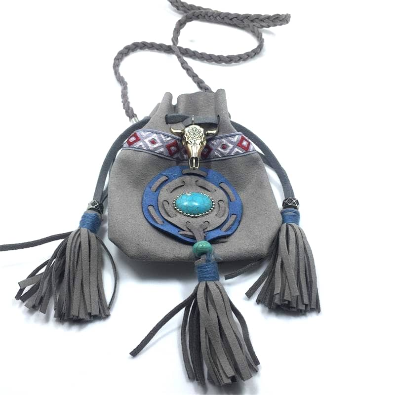 Pochette collier turquoise boho bohème chic SAC0185