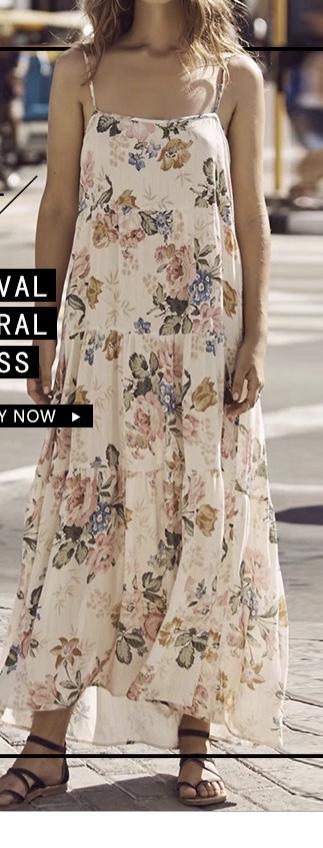 Robe longue imprimée fleurs boho boheme chic  DRESSL1417