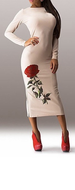 Robe imprimée rose boho boheme chic DRESSL1062