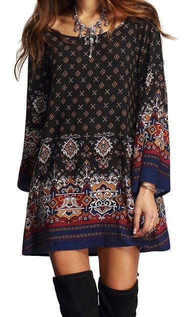 Robe courte imprimé vintage marque boho boheme chic dress1054