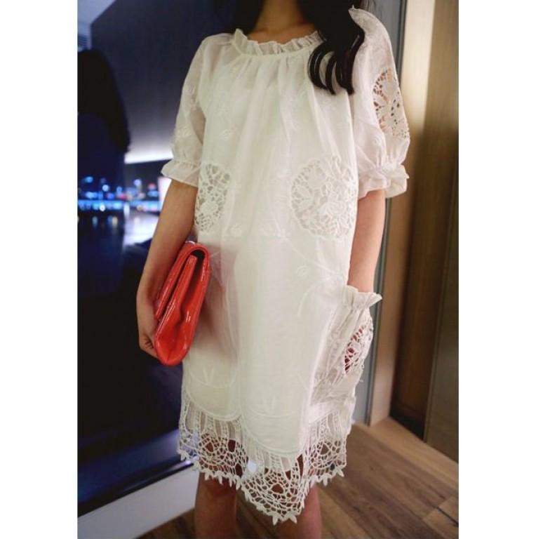 Robe blanche coton brodé boho boheme chic DRESS1008