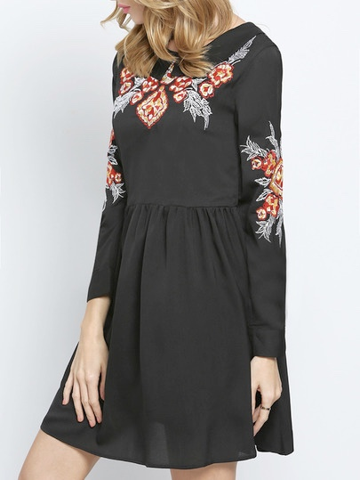 Robe noire brodée boho boheme chic dress0919