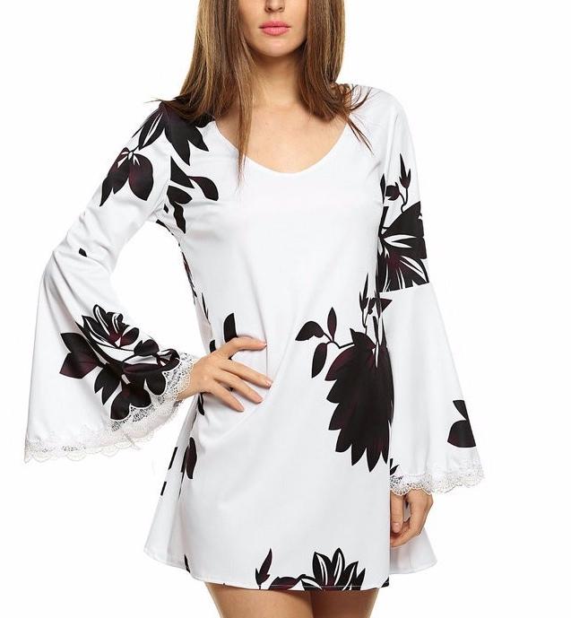 Robe courte fleurs évasée boho boheme chic dress0880