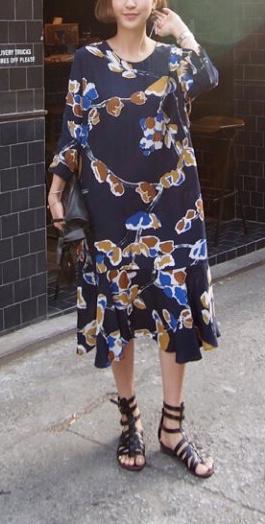 Robe ample imprimée fleurs boho boheme chic dress0865
