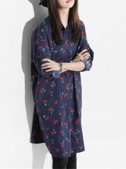 Robe chemise fleurs vintage boho boheme chic dress0826