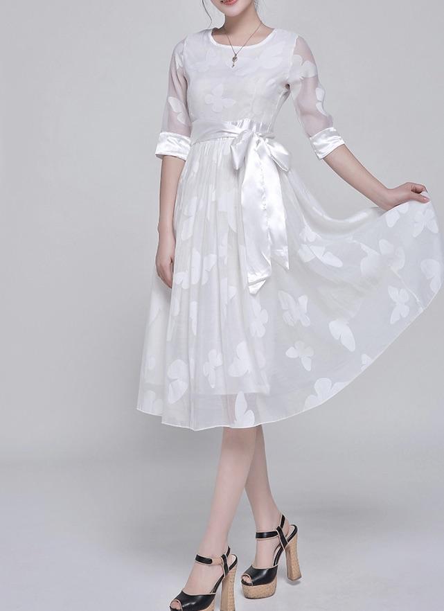 Robe blanche papillons boho boheme chic dress0707