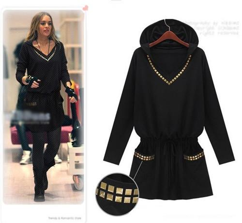 Tunique robe rivets capuche boho boheme chic dress0581