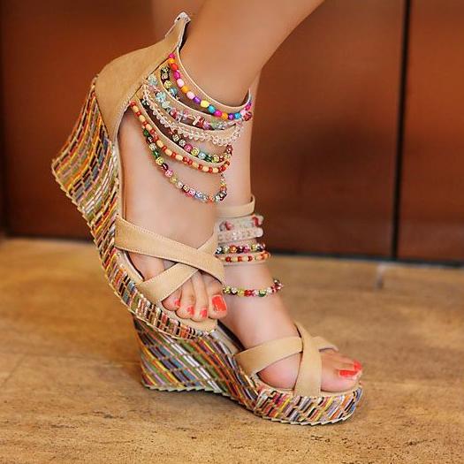 Chaussures talon compensé bijou boho boheme chic shoes0024