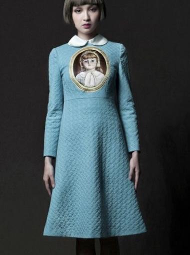 Robe bleue poupée col claudine boho boheme chic dress0502