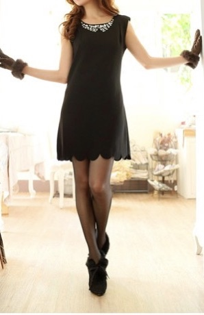 Robe col bijou noire boho boheme chic dress0501