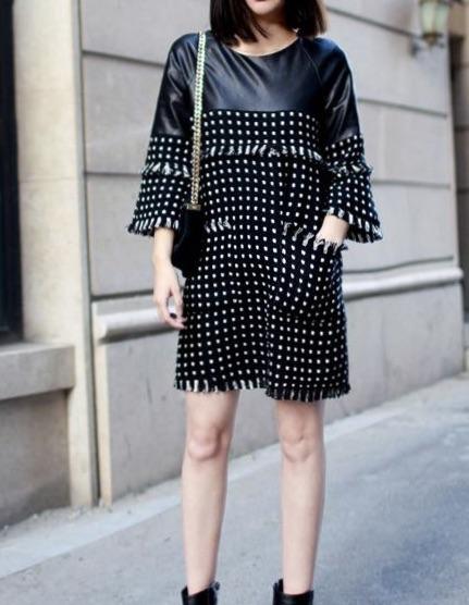 Robe courte bi matière faux cuir boho boheme chic dress0475
