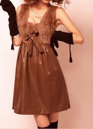 Robe bustier faux cuir fourrure boho boheme chic dress0270