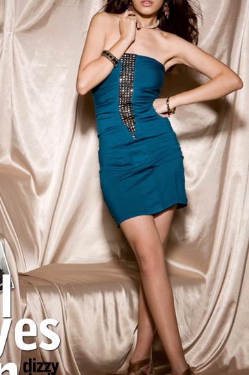 Robe bleue bustier strass boho boheme chic dress0105
