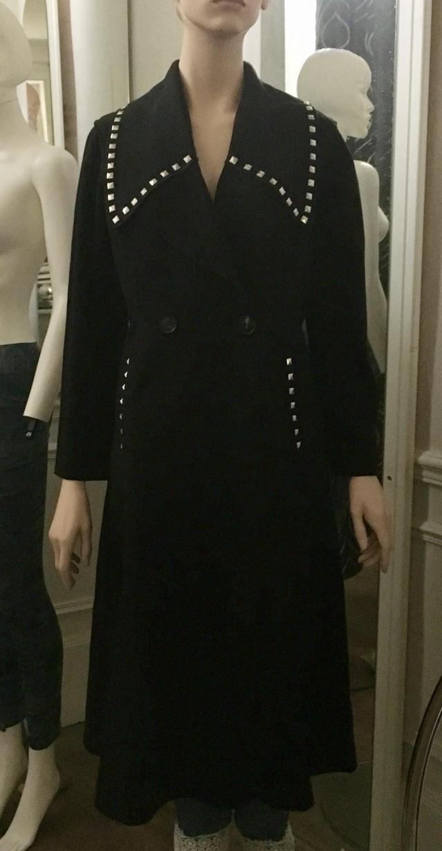 Manteau feutre noir col rivets boho boheme chic COAT0247