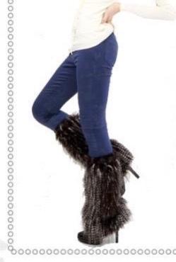 Guêtres fausse fourrure longs poils Vogue boho boheme chic GUETRES0002