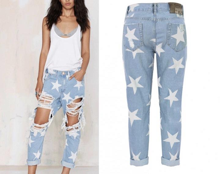Pantalon jeans déchiré étoiles boho boheme chic PANTS0118