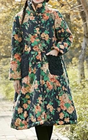Manteau imprimé rétro vintage fleurs boho boheme chic COAT0183