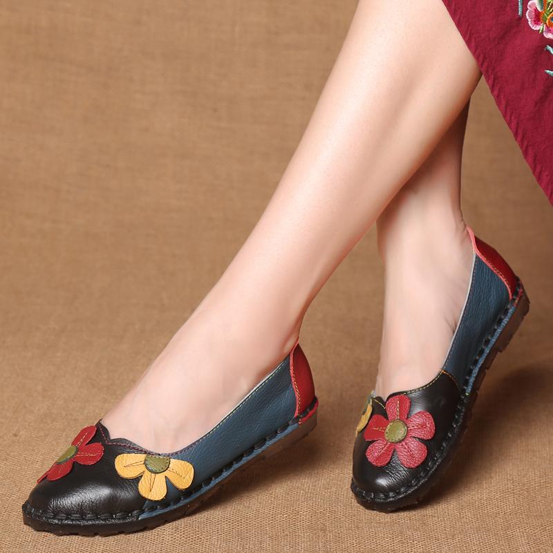Chaussures cuir fleurs boho boheme chic CHAUS0100