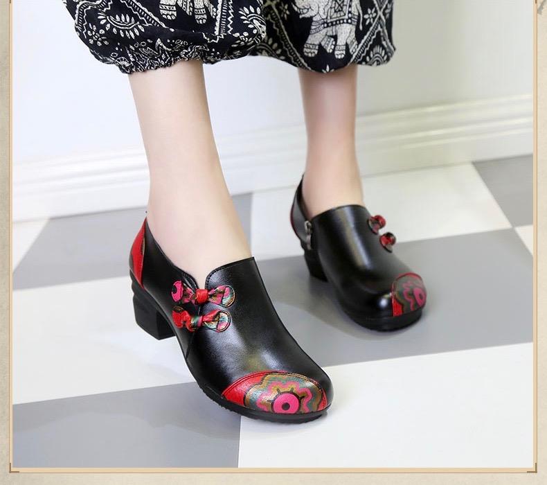 Chaussures cuir fleurs boho boheme chic CHAUS0096