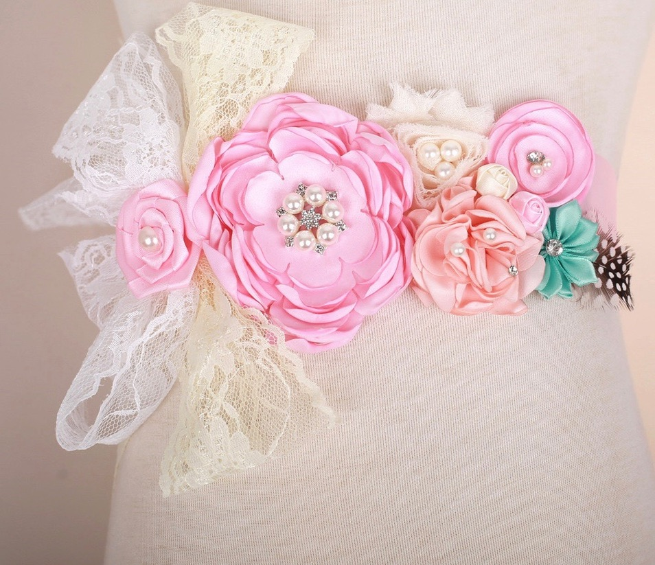 Ceinture fleurs satin perles marque boho boheme chic  BELT0340