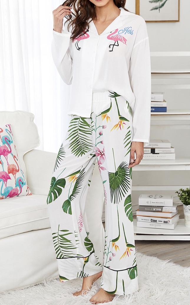 Pyjama flamants végétal boho boheme chic PYJ0040