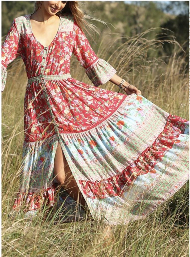 Robe longue fleurs hippie marque boho boheme chic dressl1639
