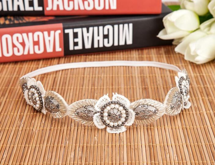 Bandeau fleurs perles tissu boho boheme chic access0315