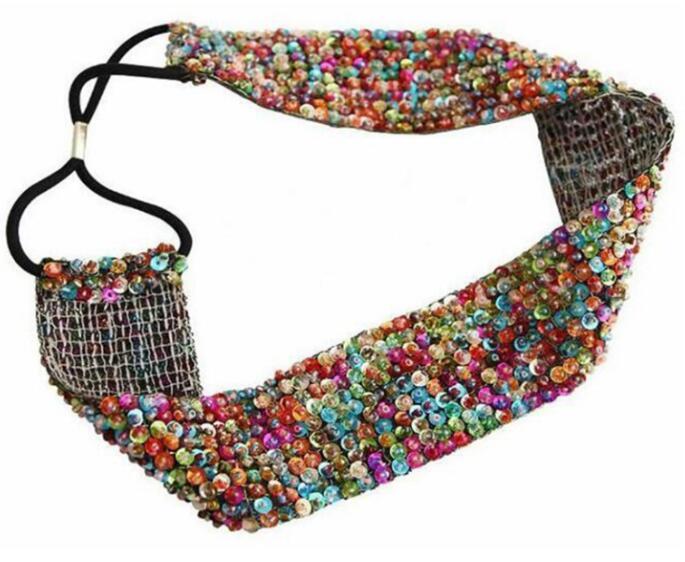 Bandeau large petites perles colorées boho boheme chic hair0313