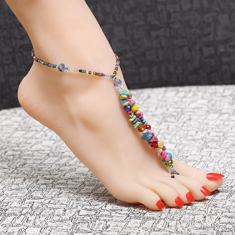 Bijou cheville perles pierres boho boheme chic bij0307