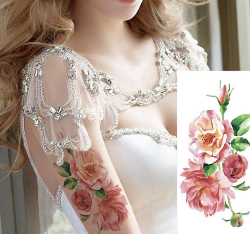 Tatouage temporaire pink roses fleurs boho boheme chic TATTOO0303